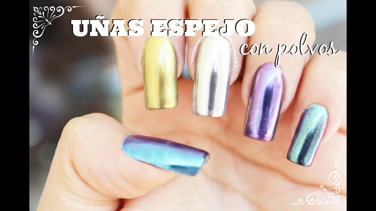 Uñas espejo con polvos / uñas cromo / mirror powder nails - YouTube