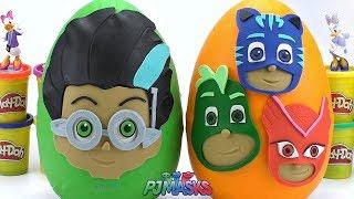 Огромные Play Doh Яйца Сюрпризы PJ Masks Ромео и Кэтбой Алетт Гекко Игрушки / Учим цвета с Play Doh