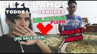 1 Pizza en MENOS de 3 MINUTOS? MEZCLAMOS todos los SABORES - RETO de COMIDA EXTREMA!!!