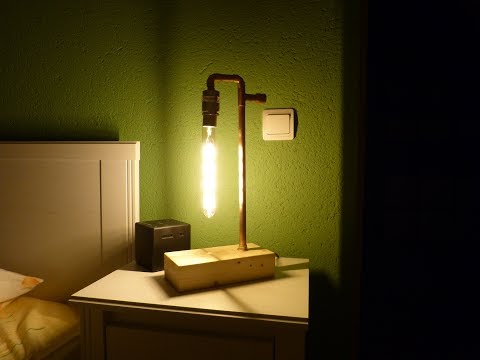 Copper pipe lamp with LED bulb