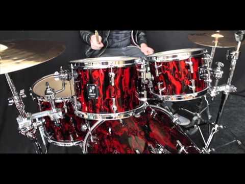 Sonor Prolite Drum Kit - Red Tribal Finish 22 10 12 14f 14s