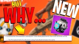 Turbo Build NERF? ... New Fortnite Update! Patch Notes Full Details: Shield Bubble