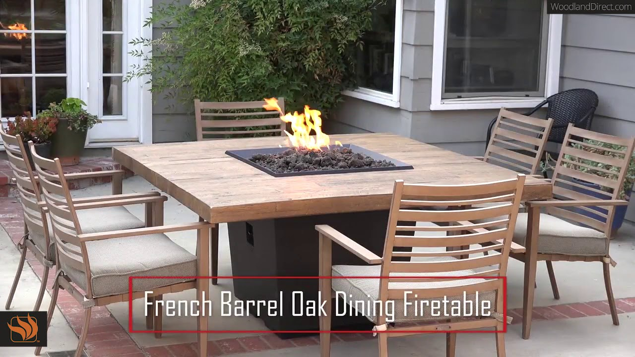 French Barrel Oak Cosmo Gas Fire Pit Table