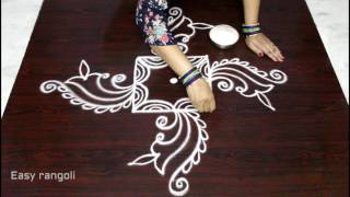 simple & easy rangoli designs with 3x3 dots - muggulu with 3 dots - beautiful kolam designs