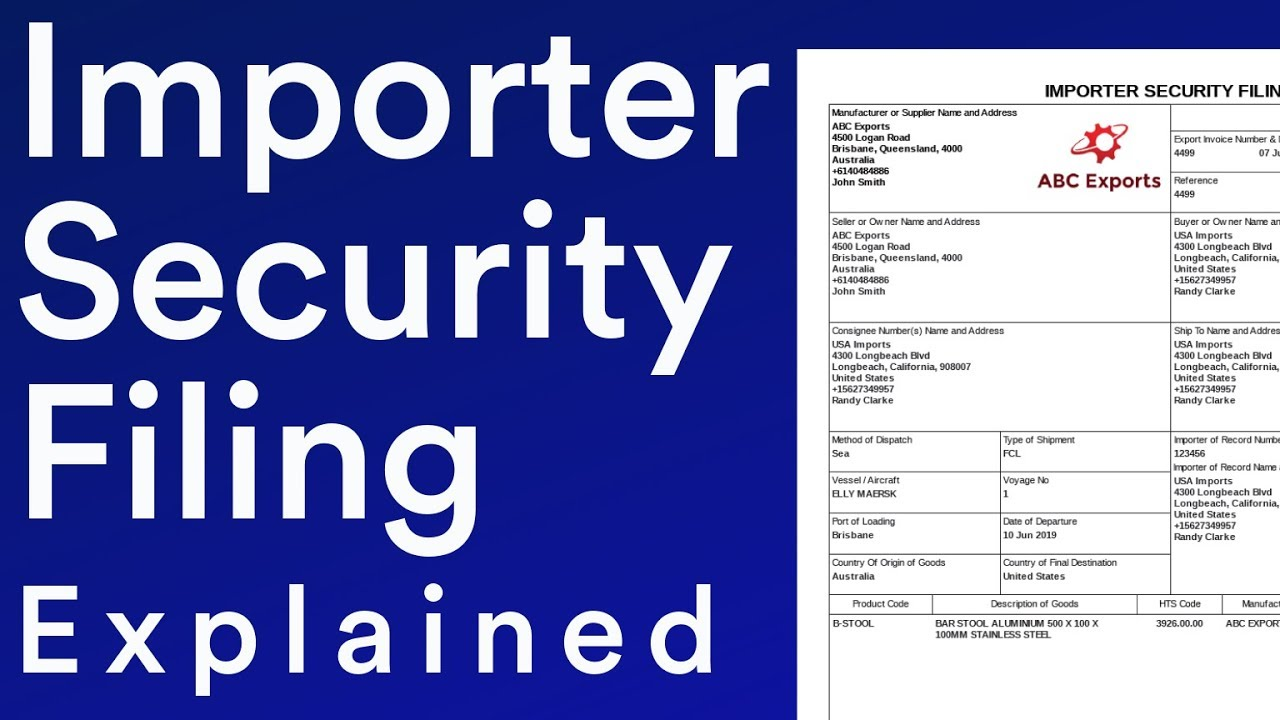 ISF Importer Security Filing Document Explained