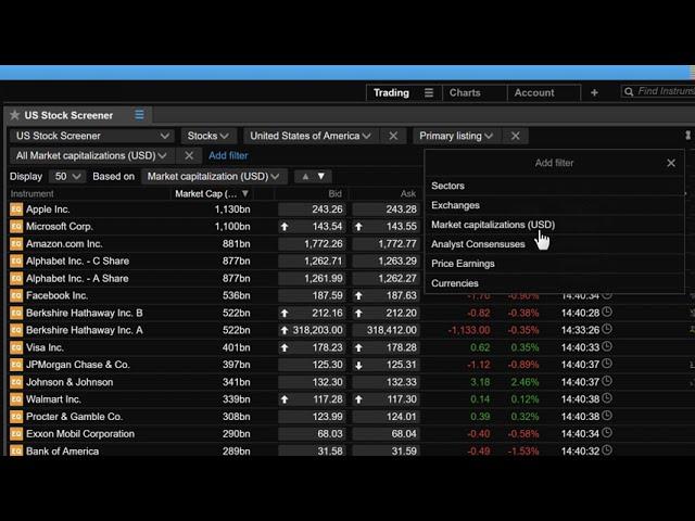 Creating a Screener List in ELANA Global Trader