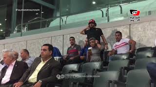 عبد الله جمعة وعمر صلاح ومحمد عنتر يتابعون مباراة الزمالك والإنتاج الحربي من المقصورة