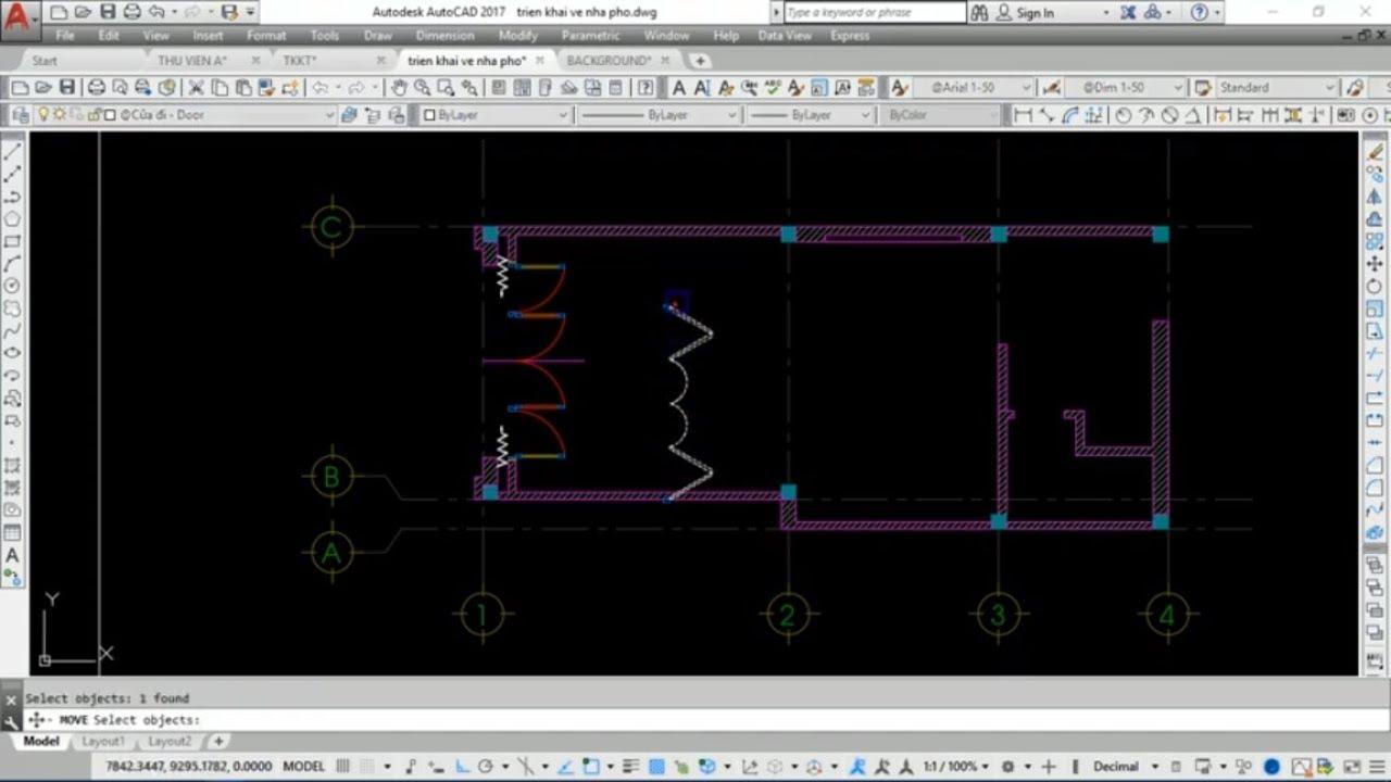 Triển khai bản vẽ kiến trúc nhà phố – Video 3: Vẽ tường, xử lý tường, hatch tường, chỉnh cửa …