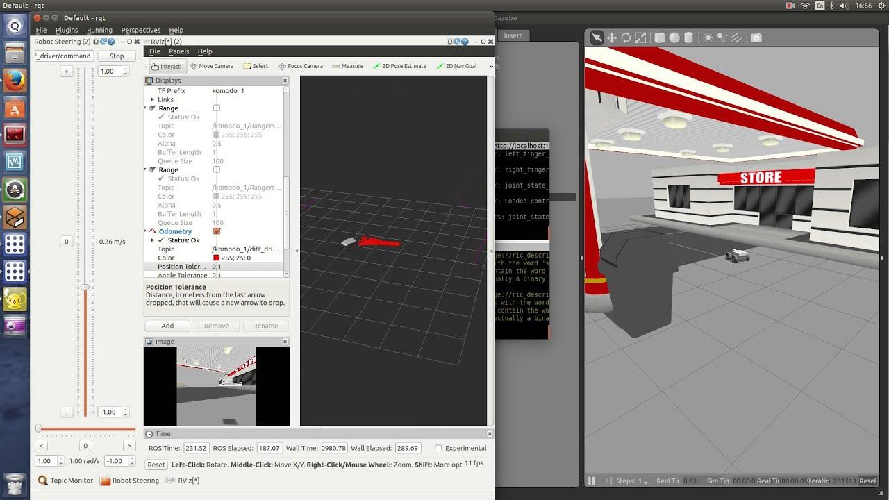 Komodo Gazebo simulation + RViz