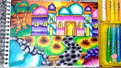 Pemandangan Masjid Cara Menggambar Dan Mewarnai Dengan Gradasi