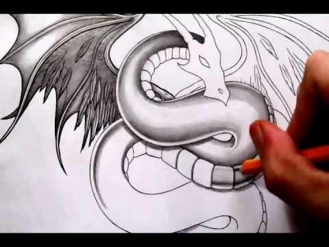 Smooth Pencil Shading Technique - Fantasy Dragon Tattoo Drawing