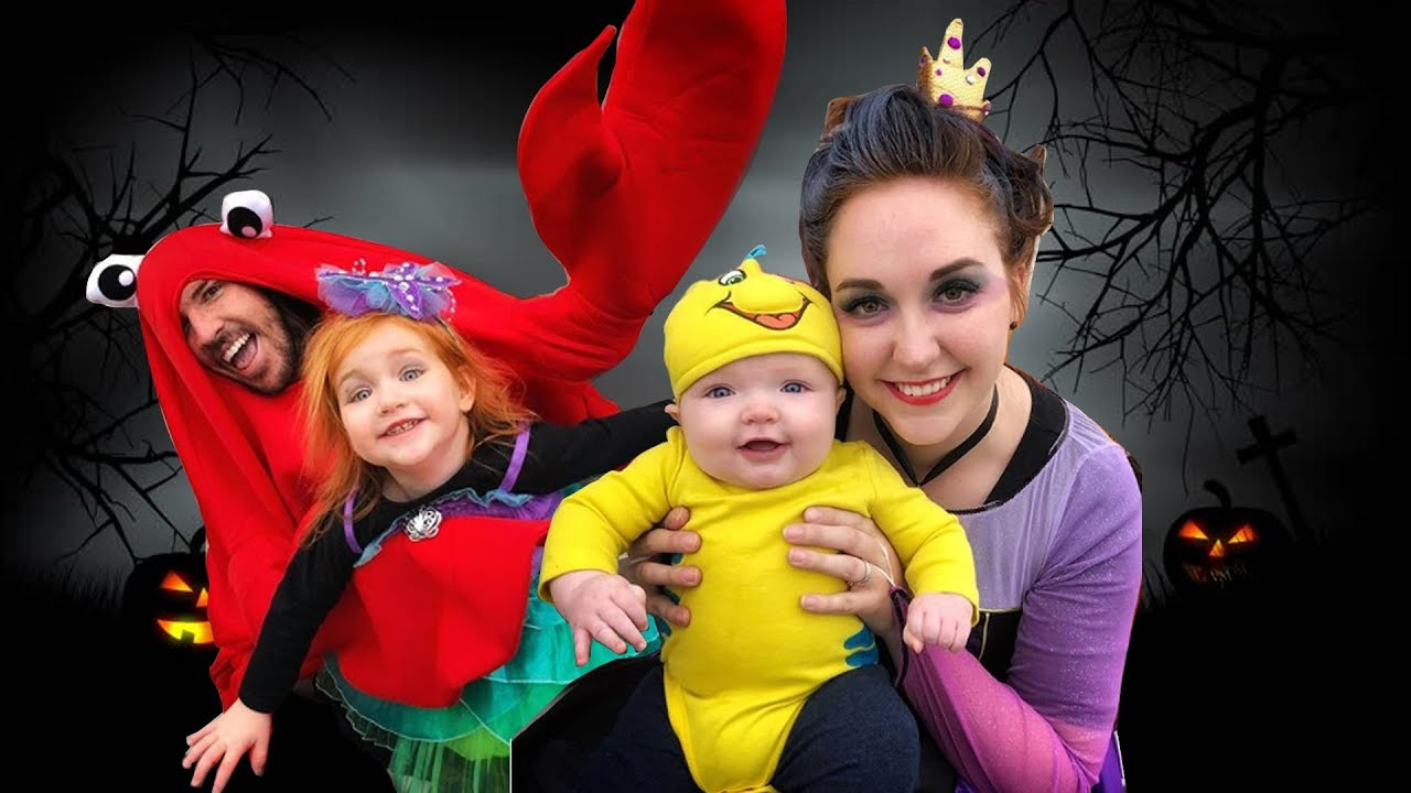 Download The Little Mermaid in REAL LIFE (TRICK OR TREATING with ARIEL URSULA FLOUNDER and SEBASTIAN)
