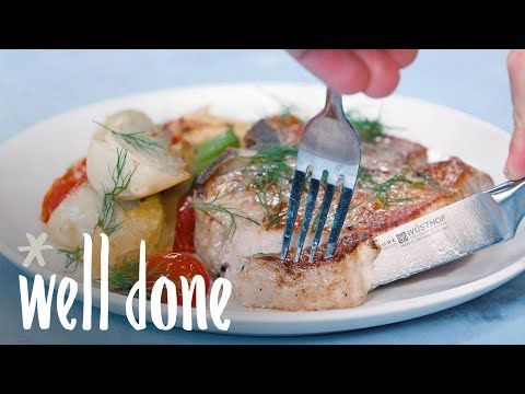 Your Guide To Perfect Pan-Seared Pork Chops with Roasted Fennel and Tomatoes | Recipes | Well Done