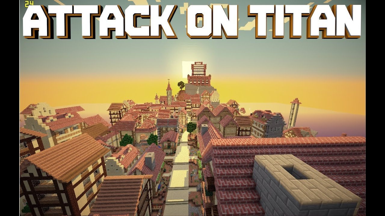 minecraft pe custom map attack on titan download youtube