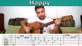 Fingerstyle Tutorial: Happy (Ph. W.) - Guitar Lesson w/ TAB