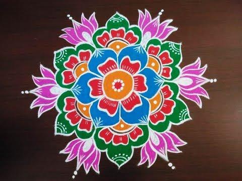 Sankranthi Muggulu With Colors * Sankranthi Rangoli Designs 2019 * Pongal Kolam Designs
