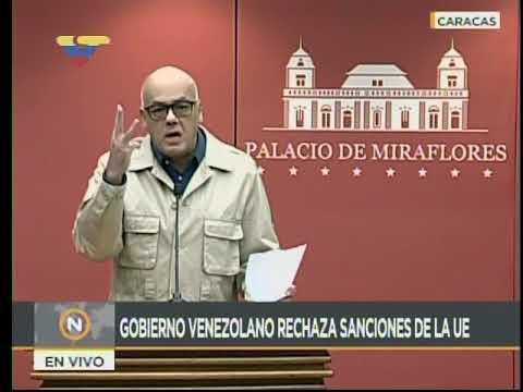 Jorge Rodríguez, ministro de Comunicación venezolano, rechaza sanciones de la Unión Europea