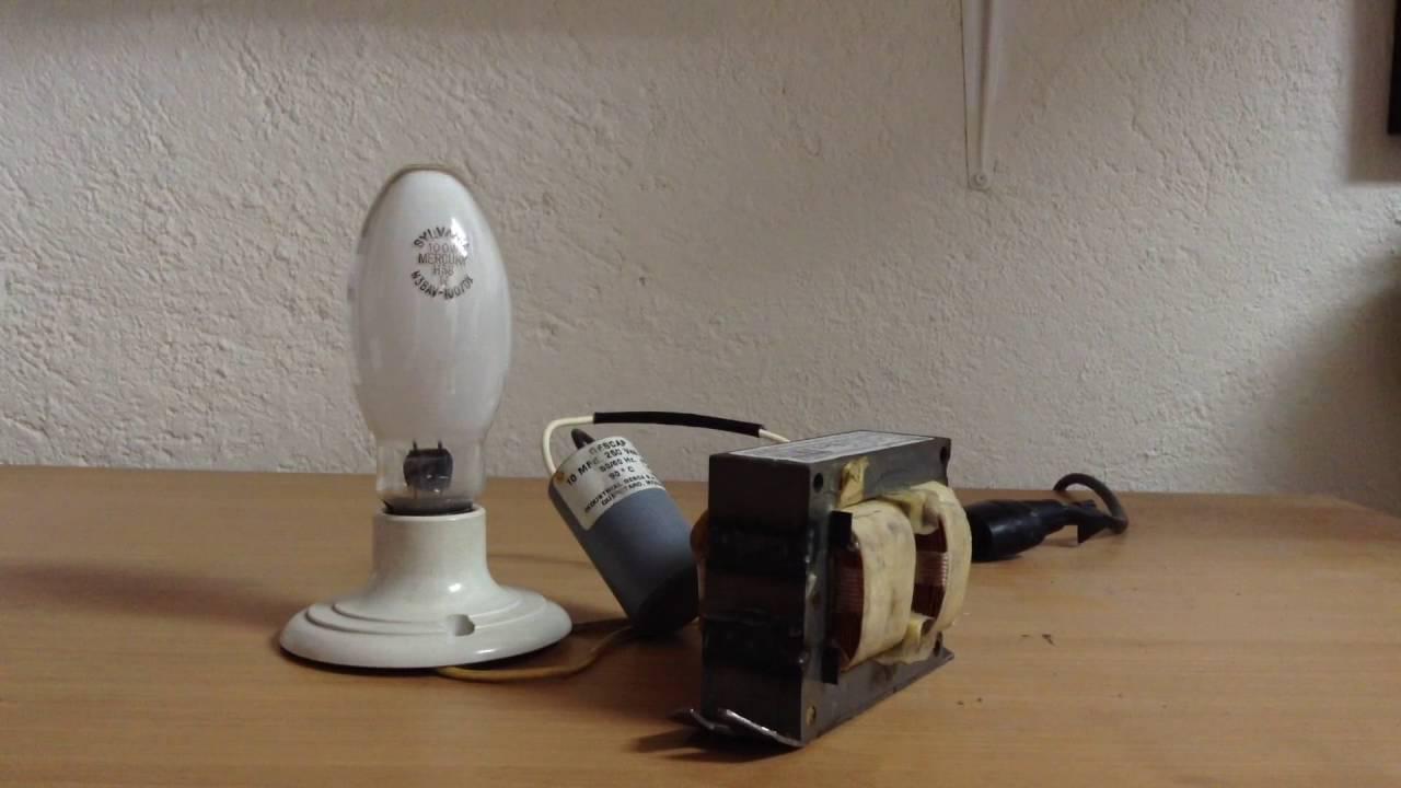 Sylvania 100W Mercury Vapor Bulb + Ballast (intro & test) - YouTube