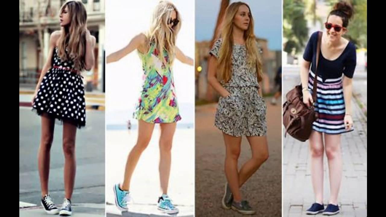 Moda tendencias 2017 Vestido de moda con tenis