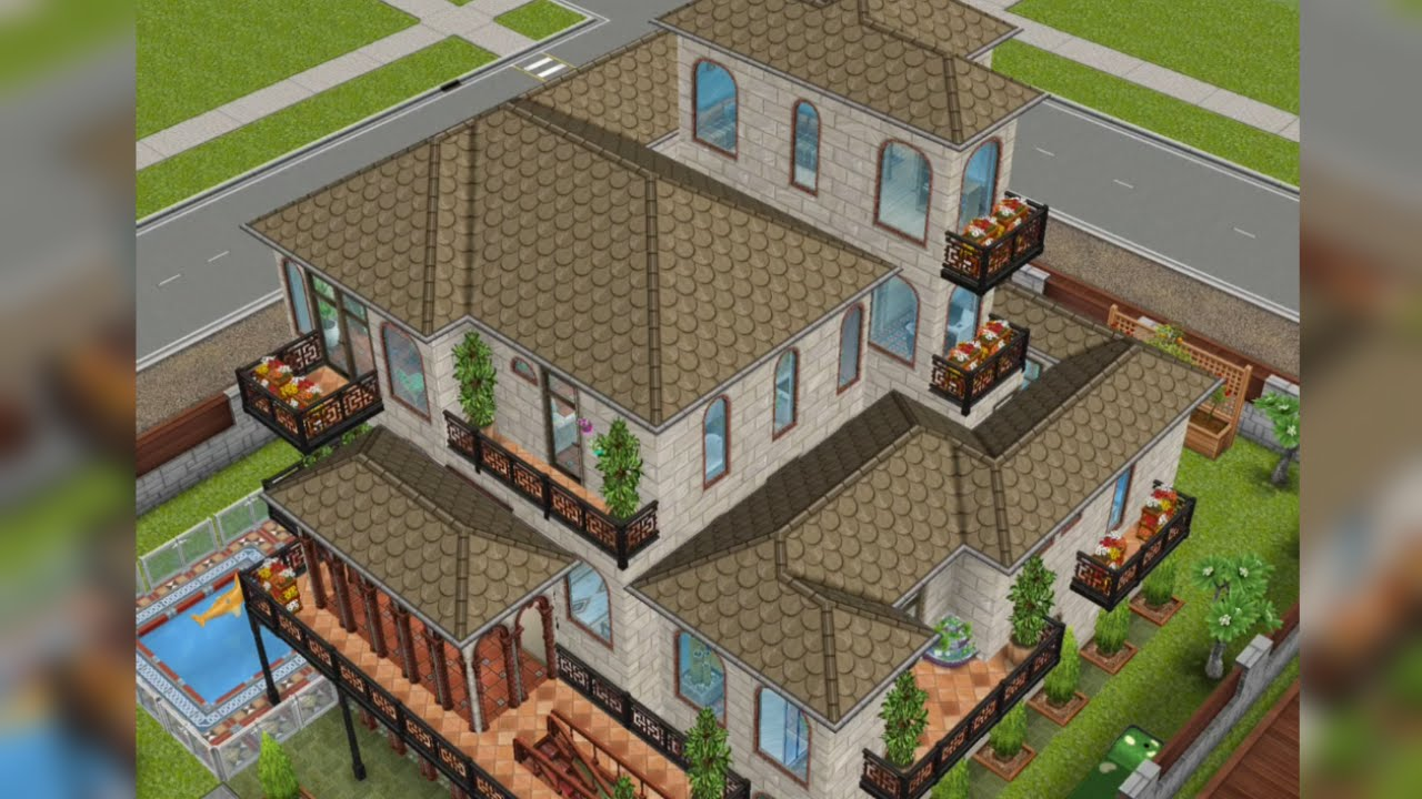 Sims freeplay casa al estilo mediterr neo con for Casa de diseno sims freeplay