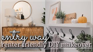 ENTRYWAY MAKEOVER Renter Friendly / Small Entryway Organization & Decorating / Decorating Ideas 2020