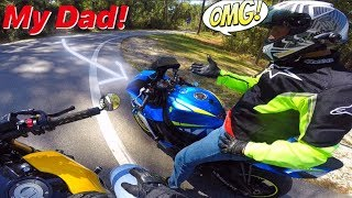 Dad Rides My GSXR Sport Bike For The First Time!