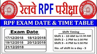 Railway RPF Exam date 2018 || RPF Exam time table Schedule || RPF Admit Card Download