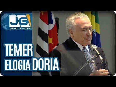 Em São Paulo, Temer elogia Doria