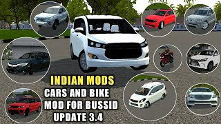 CAR MODS AND BIKE MOD WHICH WORKS ON BUSSID V3.4|Bus Simulator Indonesia|INDIAN CAR MODS