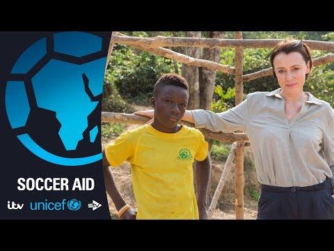 Keeley Hawes meets Munda  Soccer Aid for Unicef