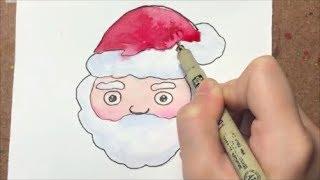 วาดซานตาครอส ง่ายๆ ด้วยสีน้ำ วาดการ์ตูนซานต้า น่ารักๆ