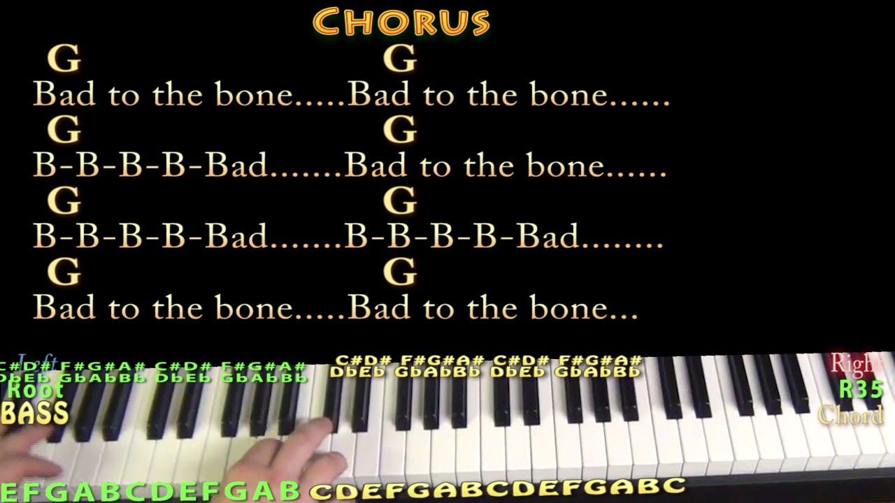 how to play bad to the bone piano