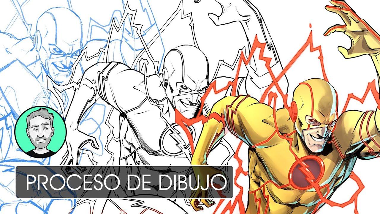 Reverse Flash en lápiz, tinta y color | Personajes de DC