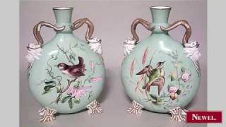 Antique Pair of English Victorian celadon Moore porcelain