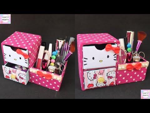 DIY Desk Organizer/ DIY Makeup Organizer/ Cajas organizadoras de Hello kitty/Hello kitty organizer