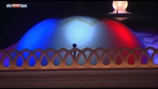 معالم الإمارات بألوان علم فرنسا