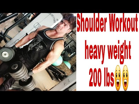 Shoulder workout barbell Press wide grip 200lb heavyweight by Vishnu cool gym time video hahaha
