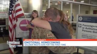 air force dad meets baby son in return from deployment