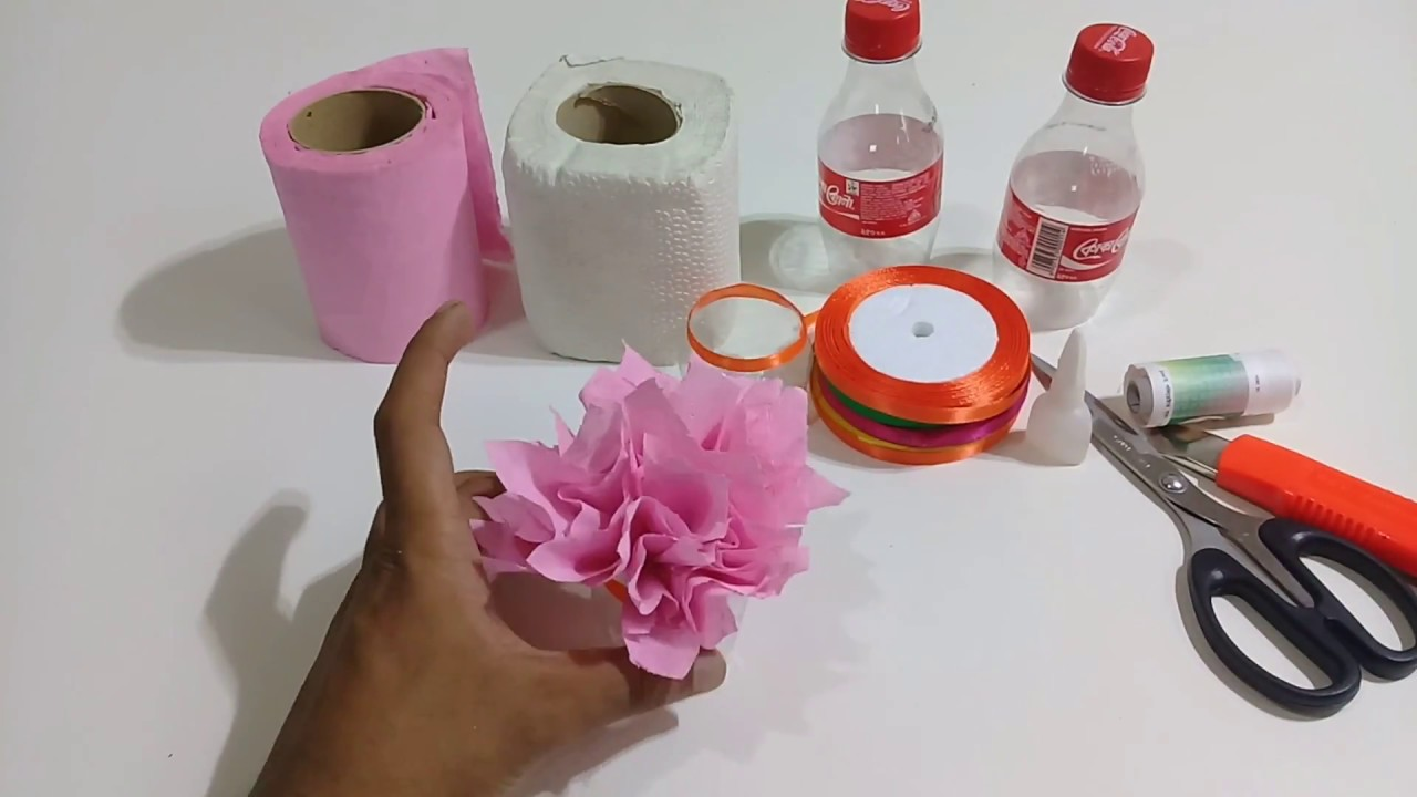 How To Make Flower Vase Using Tissue Paper With Plastic Bottles