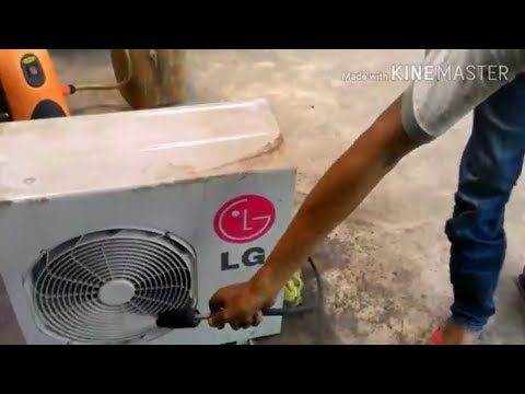 Washing cleaning outdoor mini split LG air conditioner || condenser coil clean
