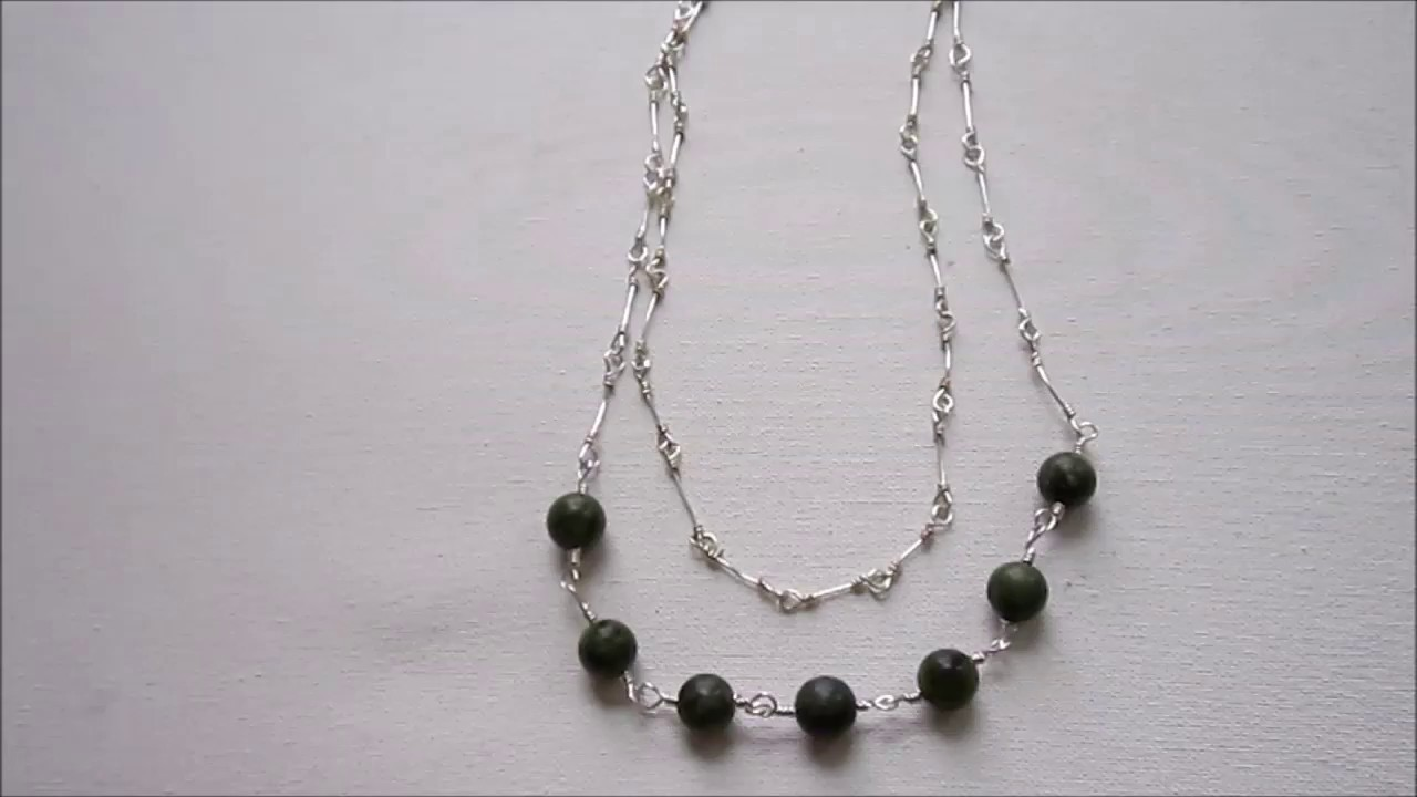 Wire Wrapped Bead Link Necklace with Chain Tutorial - YouTube