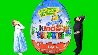 BIGGEST SURPRISE EGG IN THE WORLD! Elsa & Batman Kinder - imagine the world's biggest surprise egg