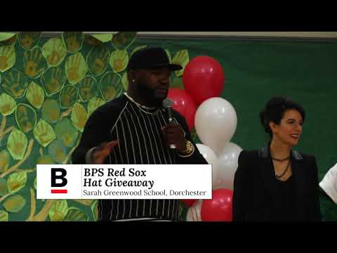 BPS Red Sox Hat Giveaway at the Sarah Greenwood School