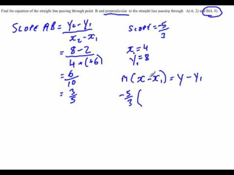 Analytical Geometry : Finding the equation of a perpendicular line using the point slope formula