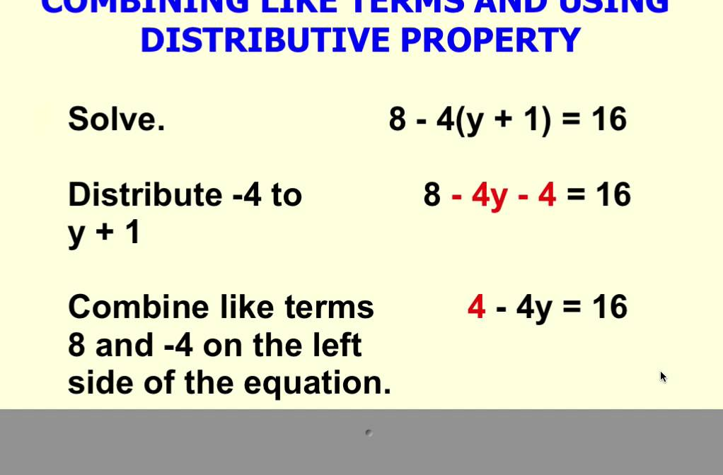solving multi step equation using distributive property and combining like terms youtube. Black Bedroom Furniture Sets. Home Design Ideas