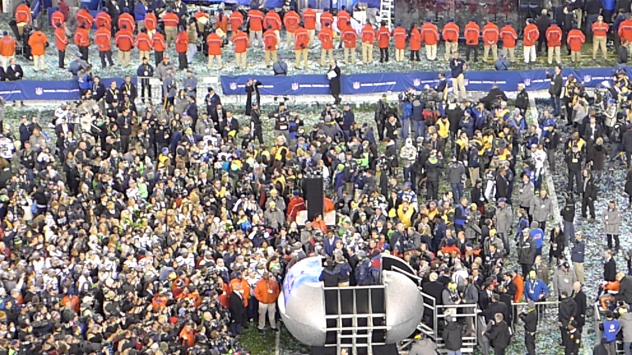 Presentation Of The Vince Lombardi Trophy To Seattle Seahawks At Super Bowl XLVIII 48