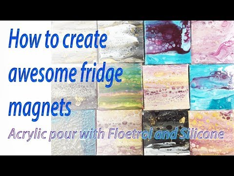 How to create pretty Acrylic Pour Fridge Magnets - Tutorial
