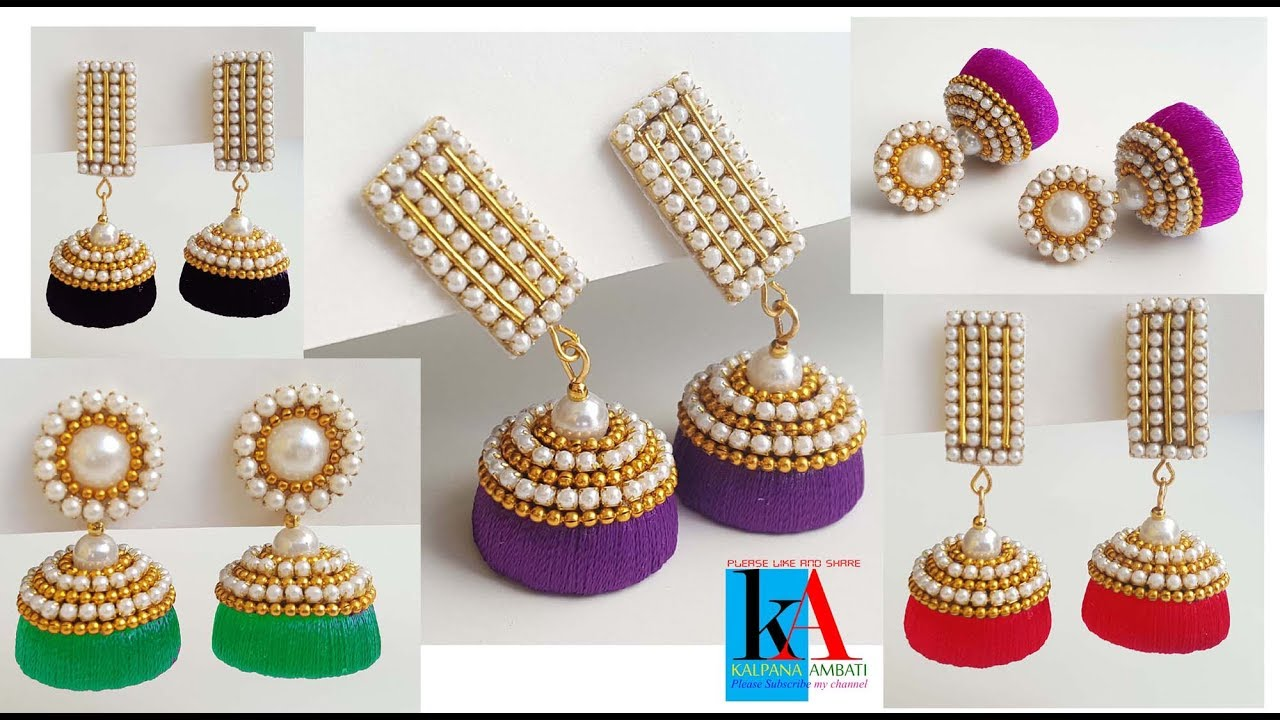 6d1123239 How to designer silk thread jhumkas // 5 colours silk thread jhumkas at  home DIY
