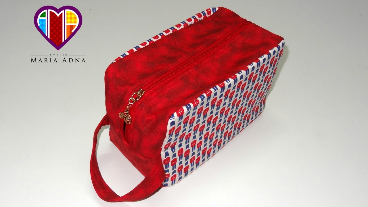 d4fe3f781 Bolsa necessaire de tecido Inglesa. Fabric necessaire tutorial. How to make  a fabric necessaire - YouTube