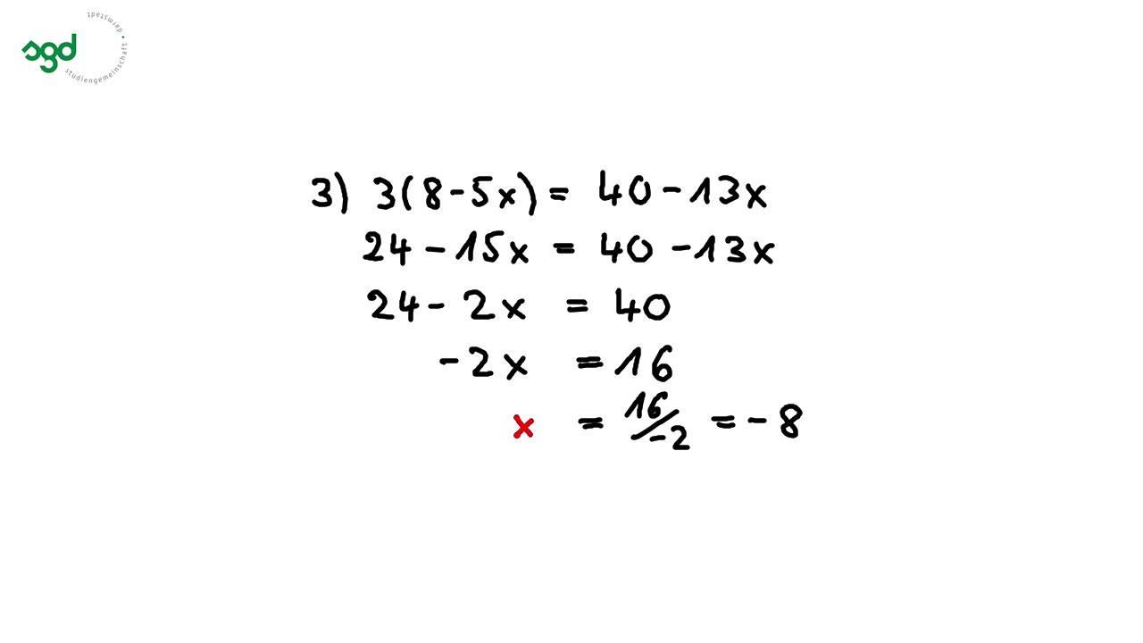 Lösen von Gleichungen mit einer Variablen - YouTube